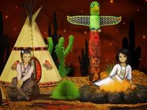 美国本地人孩子,圆锥形帐蓬在晚上 免版税库存照片