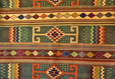 美国本地人手工制造被编织的地毯 免版税库存图片