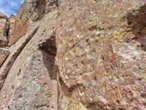 美国本地人刻在岩石上的文字Tsankawe新墨西哥 图库摄影