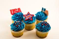 美国杯形蛋糕美国国旗 库存图片