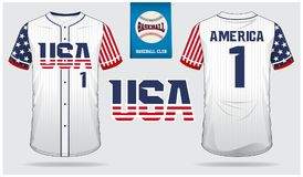 美国棒球代表队球衣,体育制服,套袖大衣T恤杉体育,短小,袜子模板 棒球T恤杉嘲笑 前面和后面看法 库存例证