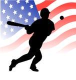 美国棒球运动员向量 库存图片