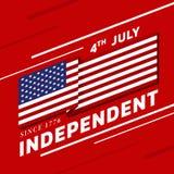 美国横幅的独立在红色背景传染媒介设计的天与美国挥动锋利的角落的旗子或美国旗子条纹和文本 向量例证