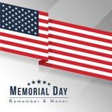 美国横幅的阵亡将士纪念日与美国旗子或美国沙文主义情绪的锋利的角落传染媒介设计 向量例证