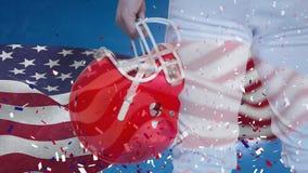 美国橄榄球球员身分的数字动画与盔甲的 股票录像