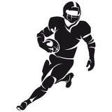 美国橄榄球运动员,剪影 库存图片