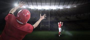 美国橄榄球运动员3D的综合图象 免版税库存图片