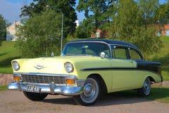 美国汽车薛佛列贝莱尔1955式样年特写镜头 库存图片
