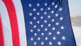 美国沙文主义情绪在风-高度详细的织品纹理 影视素材