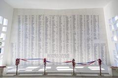 美国海军亚利桑那号战列舰纪念馆墙壁 图库摄影