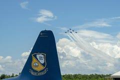 美国海军蓝色天使实践在彭萨科拉佛罗里达2018年7月 图库摄影