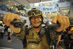 美国海军陆战队员Cosplayer 库存图片