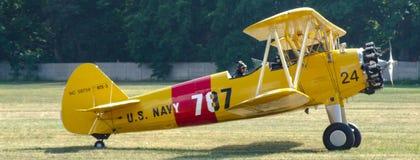 美国海军/Quax波音A75-N1/N2S-3 Stearman PT-17双翼飞机航空器 免版税库存图片