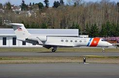 美国海岸警卫队Gulfstream企业喷气机 库存照片