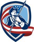 美国爱国者士兵挥动的旗子盾 库存例证