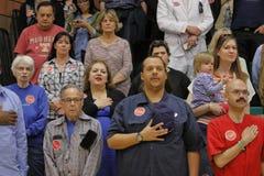 美国特德Cruz Campaigns参议员的人群在共和党内华达预备会议前的拉斯维加斯 库存照片