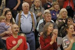 美国特德Cruz Campaigns参议员的人群在共和党内华达预备会议前的拉斯维加斯 免版税库存图片