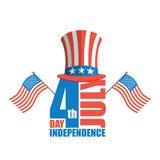 美国独立日在美国 山姆大叔帽子和美国旗子 免版税库存图片