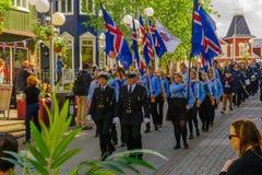 美国独立日游行在阿克雷里 图库摄影
