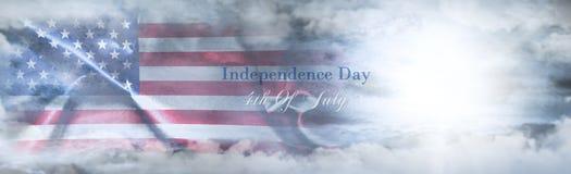 美国独立日,第4 7月 美国国旗天空 免版税库存图片