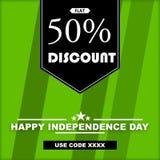美国独立日-与优惠券代码的折扣图象 免版税库存照片