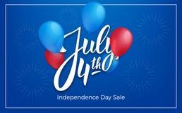 美国独立日7月4日美国 与光滑的气球和字法的假日横幅 第4个背景7月 免版税库存照片