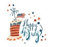 美国独立纪念日与镶边蛋糕的动画片字法 库存图片