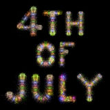 美国独立纪念日五颜六色的闪耀的烟花水平的黑天空 图库摄影