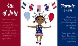 美国独立纪念日庆祝广告海报 库存照片