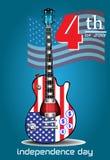 美国独立纪念日电吉他 库存图片