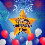 美国独立纪念日的美国独立日明信片设计 免版税库存图片