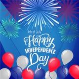 美国独立纪念日的美国独立日明信片设计 库存照片