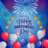 美国独立纪念日的美国独立日明信片设计 库存图片