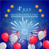 美国独立纪念日的美国独立日明信片设计 免版税图库摄影