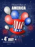美国独立纪念日的美国独立日海报设计 库存图片
