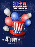 美国独立纪念日的美国独立日海报设计 免版税库存照片