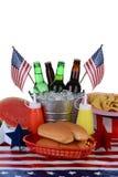 美国独立纪念日野餐桌 图库摄影