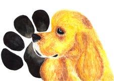 美国猎犬 狗 额嘴装饰飞行例证图象其纸部分燕子水彩 库存图片