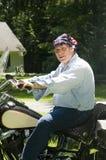 美国班丹纳花绸标志人摩托车 库存图片
