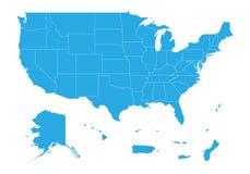 美国疆土团结的状态地图  高详细的传染媒介地图-美国疆土团结的状态  向量例证