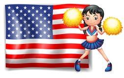 从美国的一位啦啦队员 库存图片