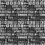 美国的传染媒介剪影篮球无缝的样式 库存图片
