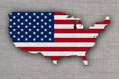 美国的地图和旗子老亚麻布的 免版税库存图片
