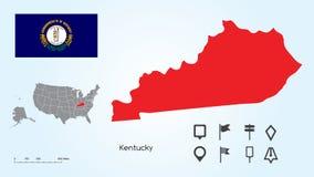 美国的地图有肯塔基的选择的状态和肯塔基旗子的与定位器汇集 皇族释放例证