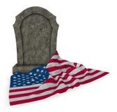 美国的墓碑和旗子 免版税库存照片