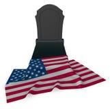 美国的墓碑和旗子 库存图片