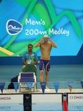美国的奥林匹克冠军迈克尔・菲尔普斯在里约前2016年奥运会的人的200m个体混杂的人群的 免版税库存图片