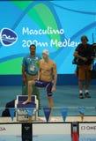 美国的奥林匹克冠军迈克尔・菲尔普斯在里约前2016年奥运会的人的200m个体混杂的人群的 免版税图库摄影