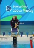 美国的奥林匹克冠军迈克尔・菲尔普斯在里约前2016年奥运会的人的200m个体混杂的人群的 免版税库存照片