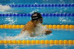 美国的奥林匹克冠军Cody米勒竞争在里约2016年奥运会的人的4x100m混合泳 库存照片